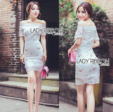 Lady Ribbon Korea Dress Korea LR15300616 &#x1F380 Lady Ribbon's Made &#x1F380 Lady Camille Off-Shoulder Embroidered Lace Body-Con Dress