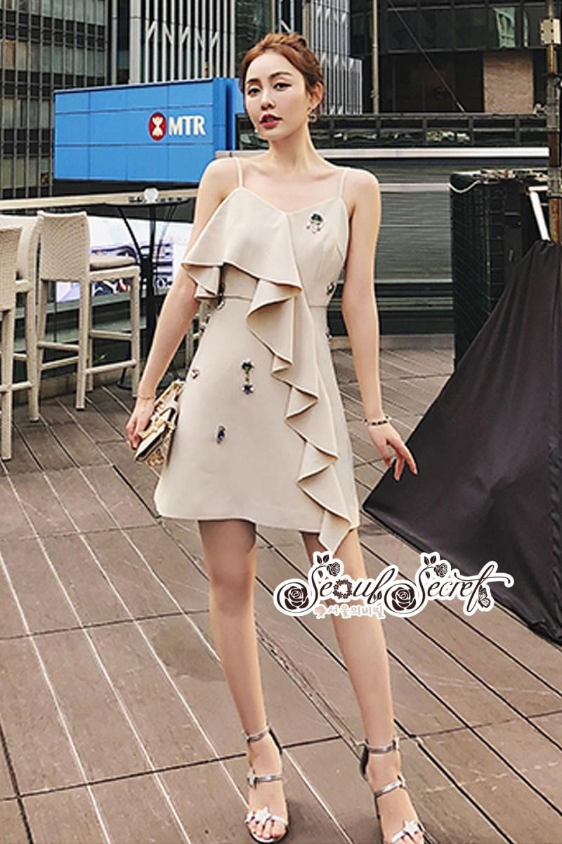 เสื้อผ้าแฟชั่นเกาหลี Lady Ribbon Thailand Seoul Secret Say'...Embroidered Linen Dress crystal Oblique