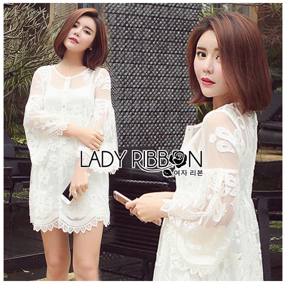 Lady Ribbon Korea Mini Dress LR15230616 &#x1F380 Lady Ribbon's Made &#x1F380 Lady Dani Sweet Princess Embroidered Tulle Dress in White