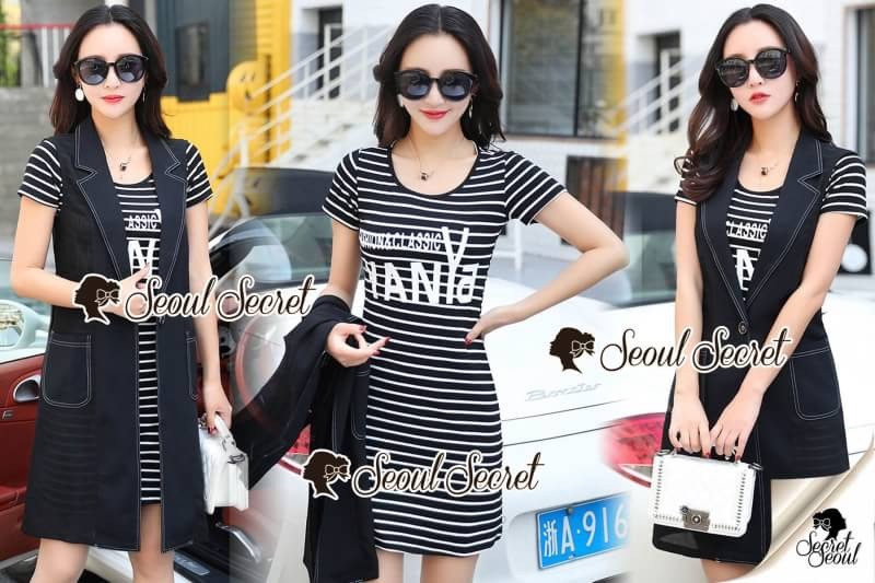 เสื้อผ้าแฟชั่นเกาหลี Seoul Secret Say's... Chic Stripy Fashion&Classic YANYA Dahlia Chill Dress