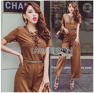Lady Ribbon Korea Closet LR16270616 &#x1F380 Lady Ribbon's Made &#x1F380 Lady Lyla Modern Minimal Chic Lacy Camel Jumpsuit
