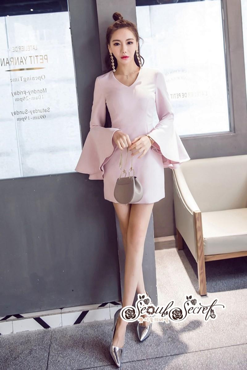 เสื้อผ้าแฟชั่นเกาหลี Lady Ribbon Thailand Seoul Secret Say'...Sweet Pink Sleeveless Bell Sleeve Mini Dress
