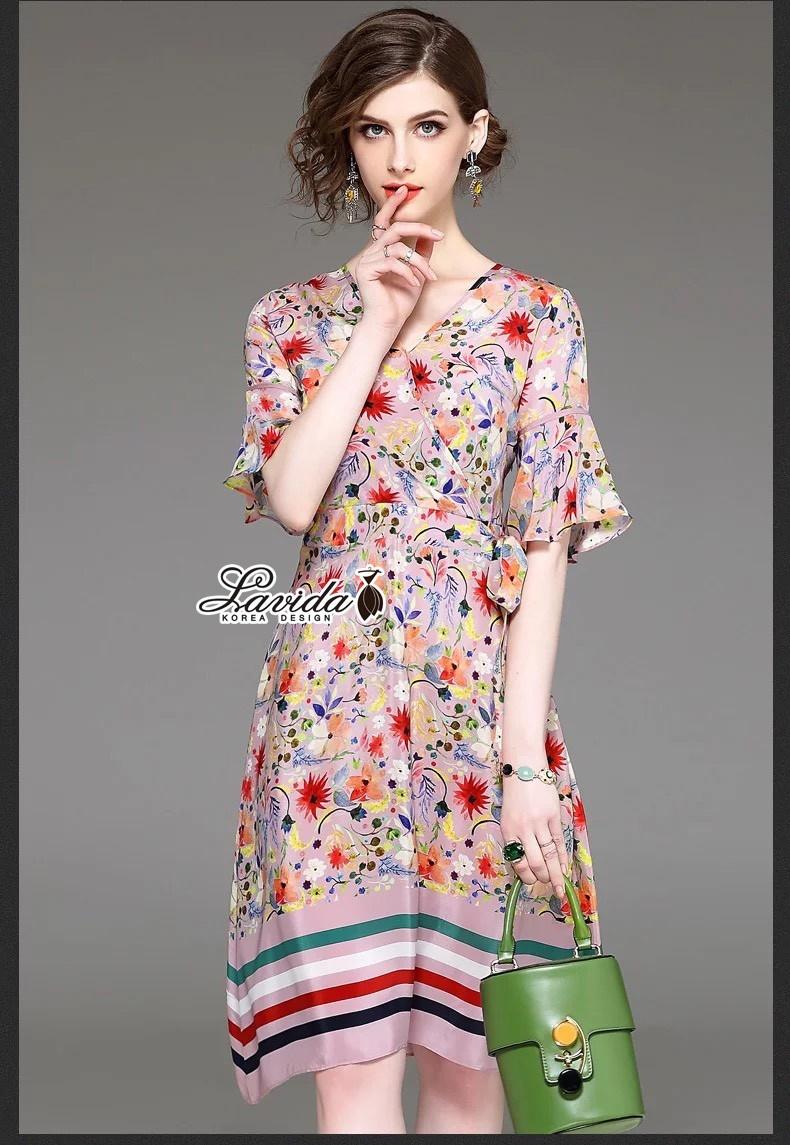 เสื้อผ้าแฟชั่นเกาหลี Lady Ribbon Thailand Korea Design By Lavida Colorful floral printing v neck dress