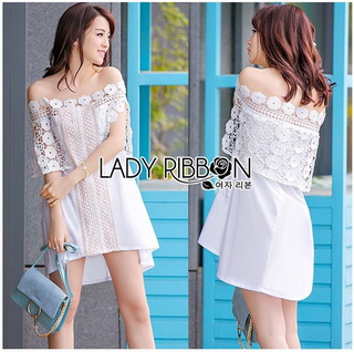 Lady Ribbon Korea Closet วิน LR20010816 &#x1F380 Lady Ribbon's Made &#x1F380 Lady Nicole Sweet Feminine Off-Shoulder Lace and Polyester Dress วินเดรส
