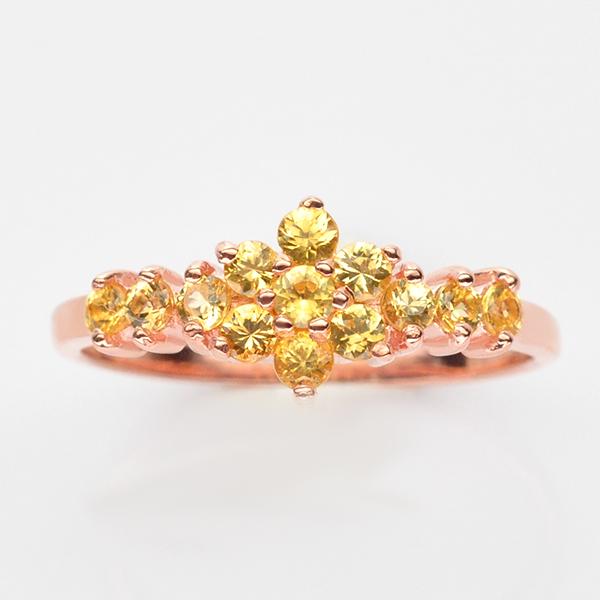 แหวนพลอยแท้ แหวนเงิน925 พลอย บุษราคัม ตัวเรือน ชุบพิ๊งค์โกลด์