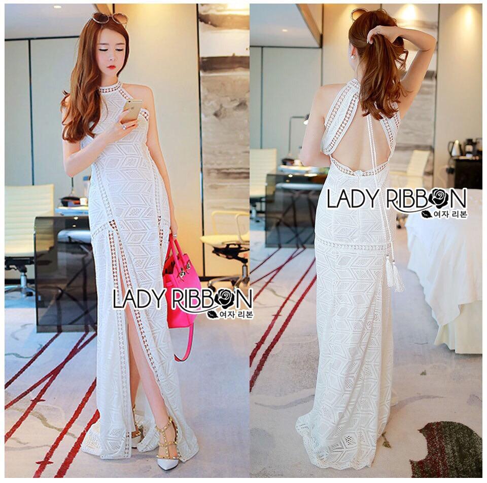 : Lady Ribbon Korea LB02160516 &#x1F380 Lady Ribbon's Made &#x1F380 Lady Nicole Sexy Chic High-Neck Graphic Lace Maxi Dress เดรสยาว แขนกุด คอสูงผ้าลูกไม้ลายกราฟฟิก