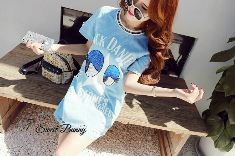 Lady Ribbon Korea Closet SB 15300516 Sweet Bunny Present... Jack Daniel's Shine Blue Eye Dress