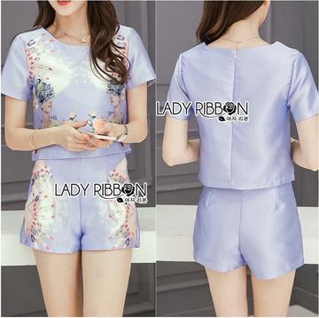 Lady Ribbon เสื้อผ้าเกาหลี LR15110716 &#x1F380 Lady Ribbon's Made &#x1F380 Lady Cara Surreal Bejewelled Printed Satin Set เซ็ตเสื้อและกางเกง