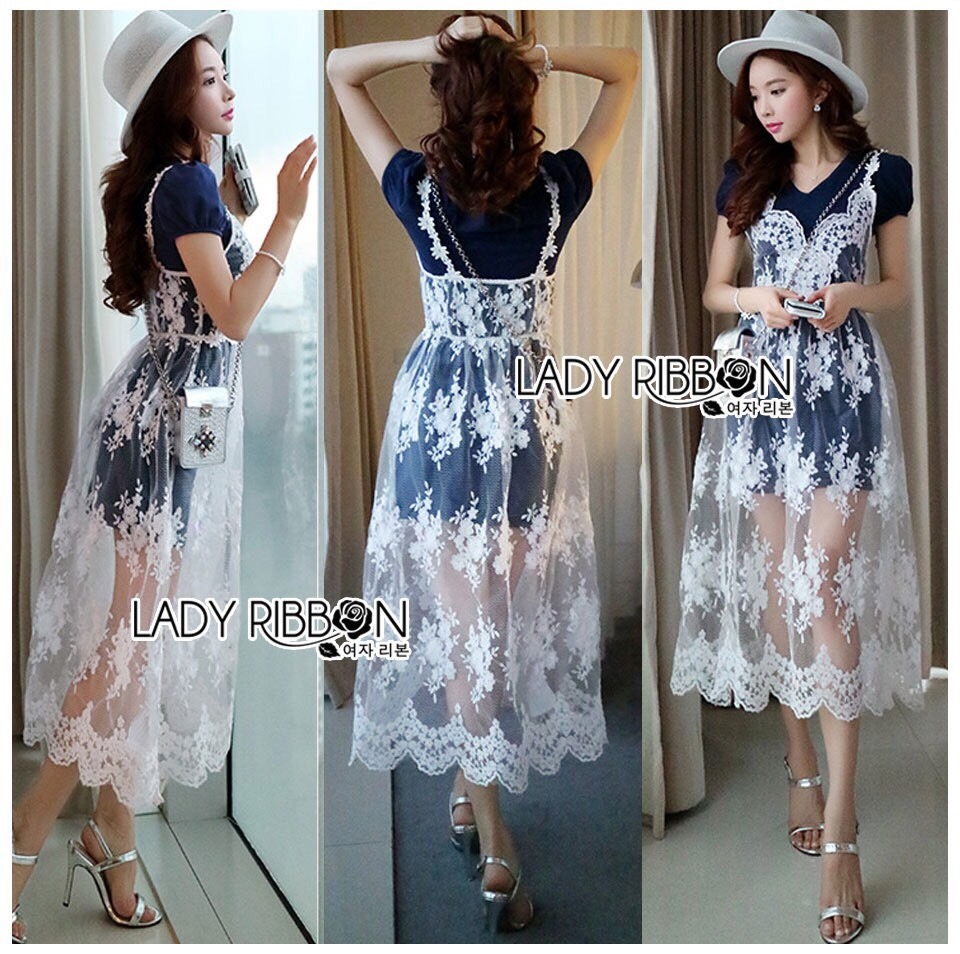 Lady Ribbon Korea Dress ผ้าลูกไม้ LR17230616 &#x1F380 Lady Ribbon's Made &#x1F380 Lady Christie Sweet Modern Jersey Cotton Dress on top with White Lace Dress