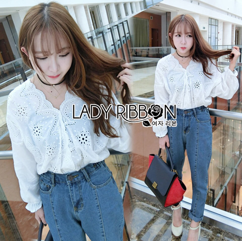 Lady Ribbon Dress LR18120516 &#x1F380 Lady Ribbon's Made &#x1F380 Lady Laurel Embroidered and Laser-Cut Cotton Cropped Top in White