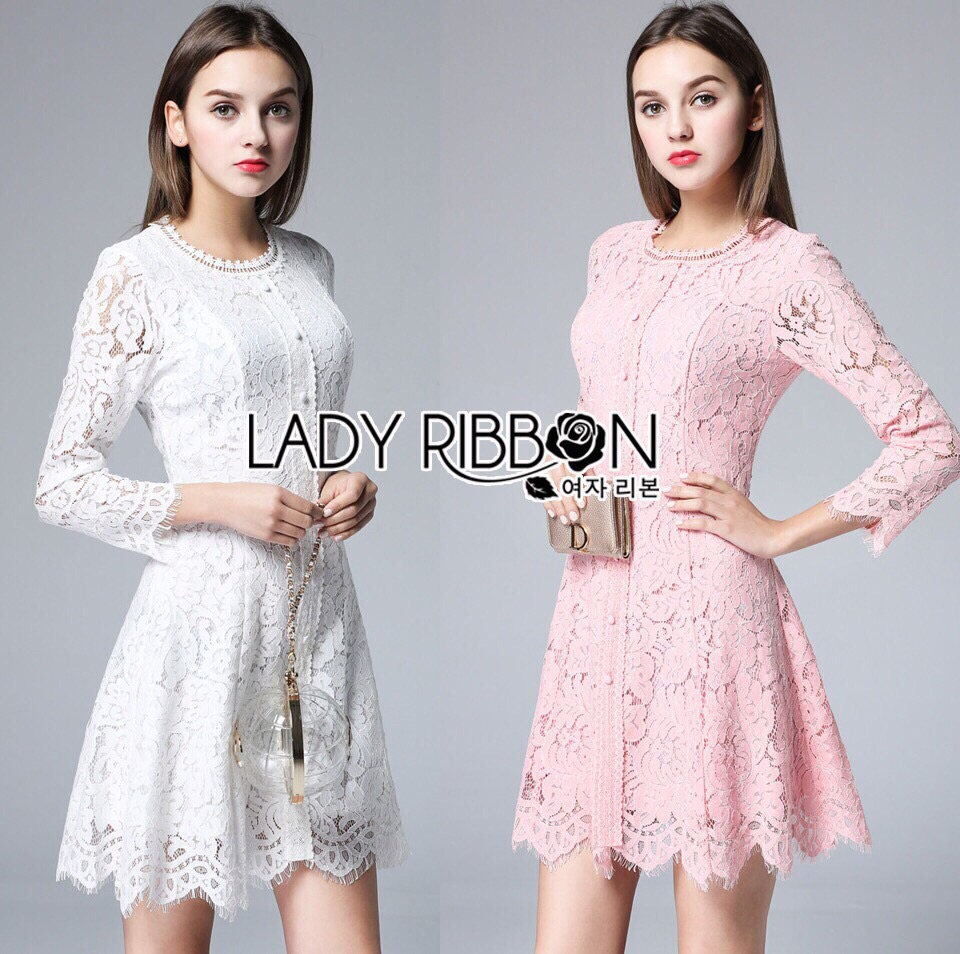 Lady Ribbon Dress LR05300516 &#x1F380 Lady Ribbon's Made &#x1F380 Lady Carine Royal Princess Button-Down Lace Mini Dress มินิเดรสผ้าลูกไม้