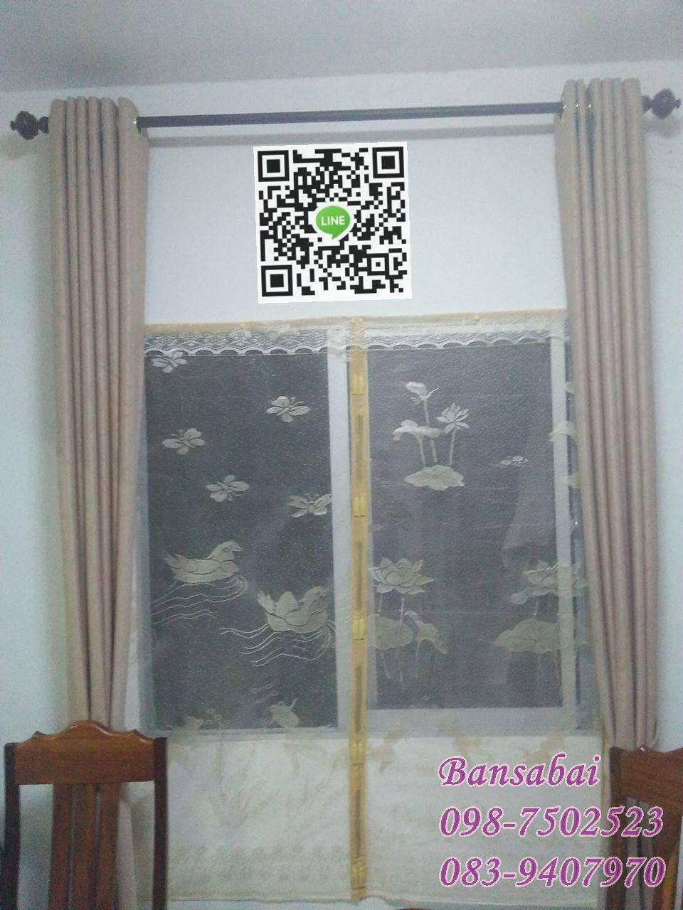 ม่านหน้าต่างกันยุง ก80xส150 ซม.แบบผ้าทอลาย คละสี
