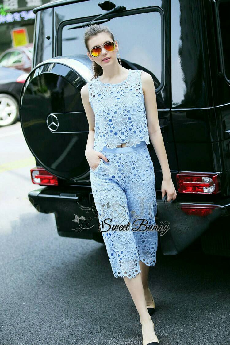 Lady Ribbon Korea Brand SW 08060616 Sweet Bunny Present... Blue Lace Sleeveless Blouse And Pants Set