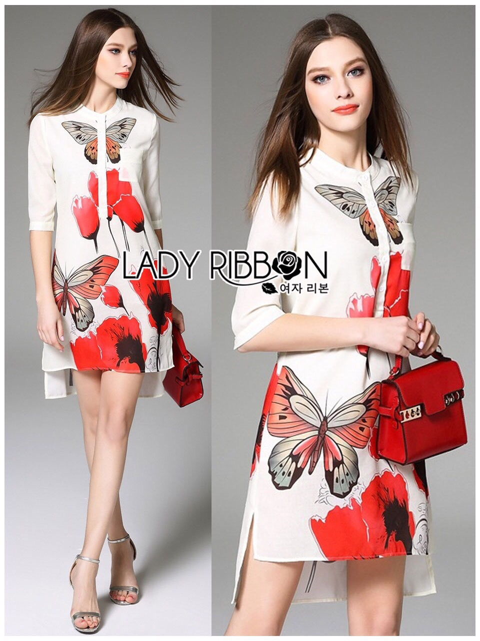 Lady Ribbon Korea LR16200616 &#x1F380 Lady Ribbon's Made &#x1F380 Lady Samantha Smart Sensual Natural Printed Viscose Dress เ