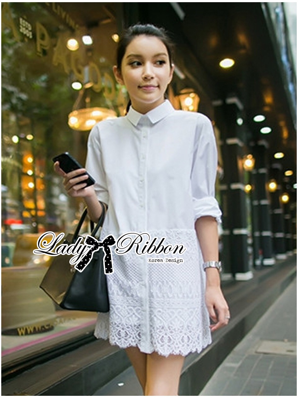 Lady Ribbon's Made &#x1F380 Lady Vanessa Classic Insert Lace Shirt Korea in White