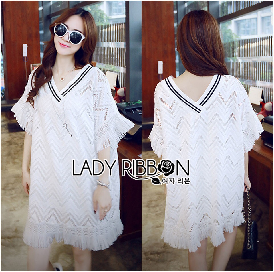 &#x1F380 Lady Ribbon's Made &#x1F380 Lady Florence Modern Hippie Free-Spirit Fringed Lace Dress เดรสผ้าลูกไม้สีขาว