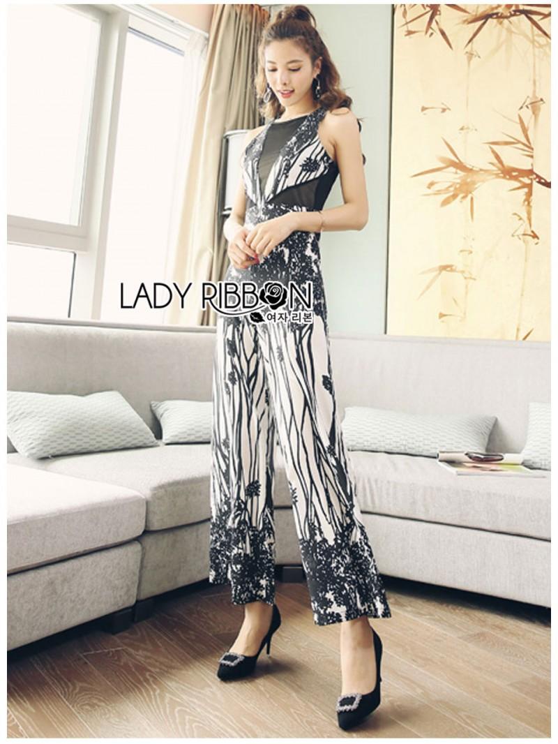 เสื้อผ้าแฟชั่นเกาหลี Lady Ribbon Thailand Lady Ribbon's Made Lady Emilia See-Through Printed Black Jumpsuit