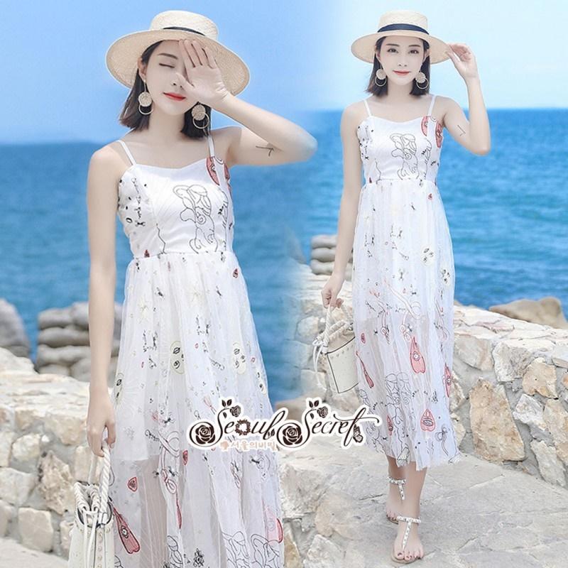 เสื้อผ้าแฟชั่นเกาหลี Lady Ribbon Thailand Seoul Secret Say's ...White Line Dress With Black Fancy Stripes