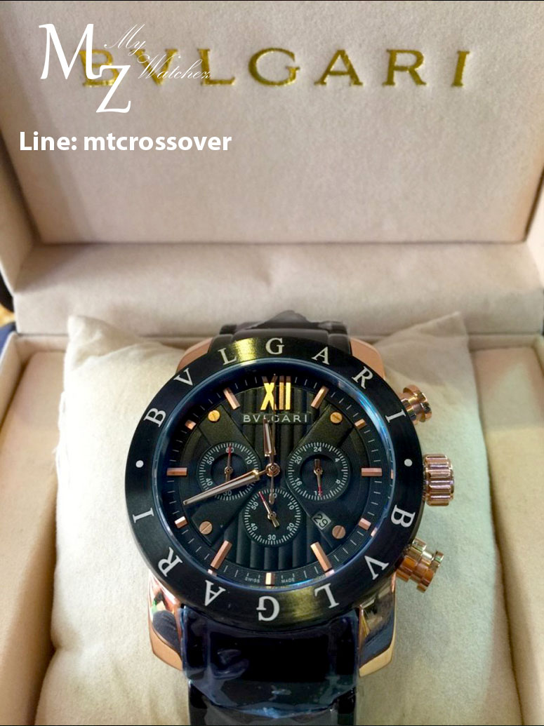 Bvlgari Diagono 46mm Black and Gold Dial Stainless Steel Case Ceramic Bezel Steel Bracelet