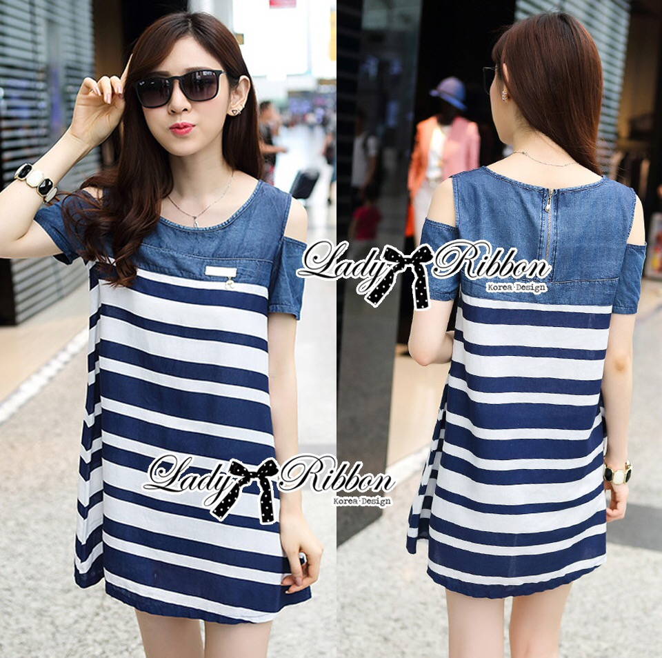 Lady Ribbon's Made &#x1F380 Lady Rita Casual Style Cut-Out Denim Striped