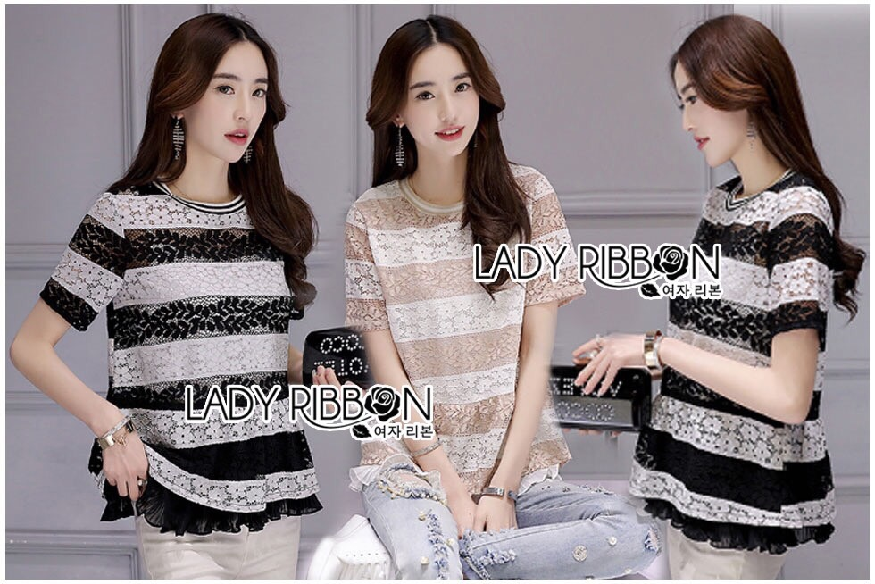 Lady Ribbon Dress Korea LR13190516 &#x1F380 Lady Ribbon's Made &#x1F380 Lady Georgina Striped Lace Top with Dress Korea Pleated Frills เสื้อผ้าลูกไม้ลาย