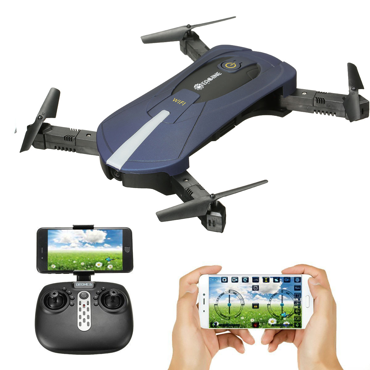 EACHINE E52 BLUE FPV Selfie Pocket Drone WiFi APP Control Altitude Hold RC Helicopter