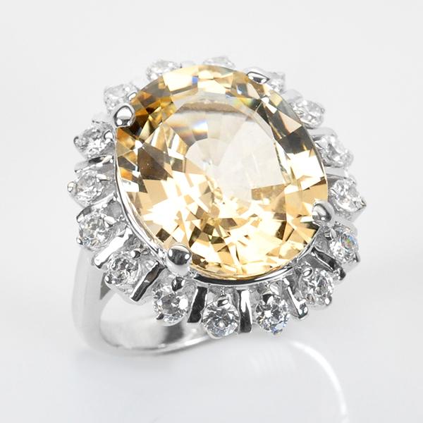 แหวนพลอยแท้ แหวนเงินแท้925 ชุปทองและทองคำขาวพลอยธรรมชาติแท้ฟิลสปาร์ ล้อมด้วยเพชร CZ
