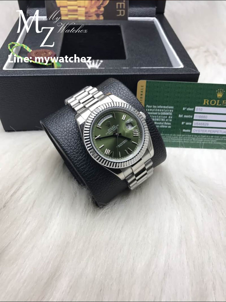 Rolex Day-Date Stainless Green Roman Dial Ref:228235