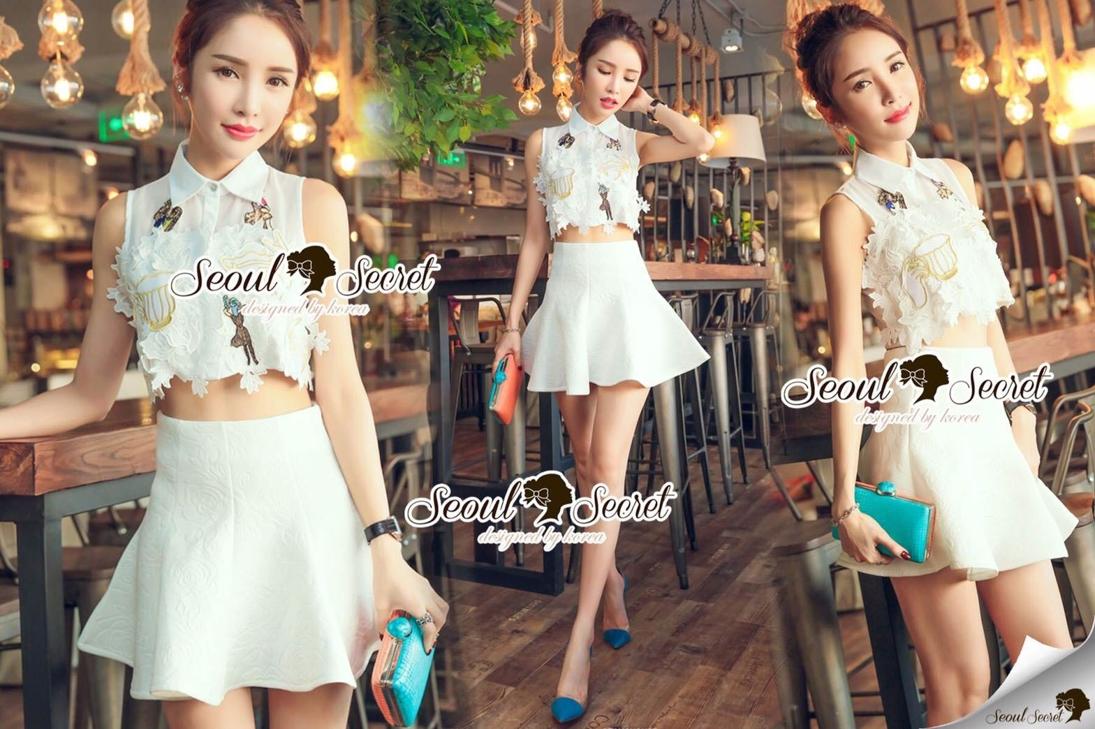Seoul Secret Say's... Chiffon Lace Cami Shirt Skirt Set