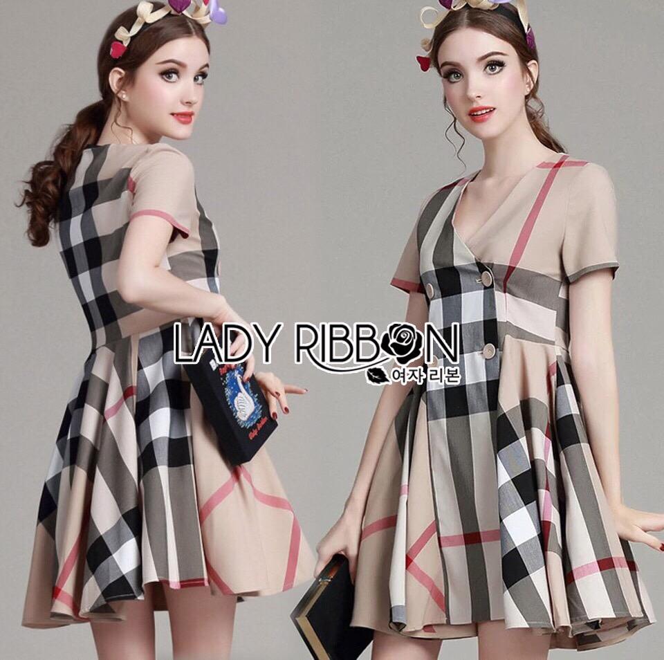 Lady Ribbon Korea Mini Dress LR07130616 &#x1F380 Lady Ribbon's Made &#x1F380 Lady Agnes Burberry Signature Plaid Double-Brested Mini Dress