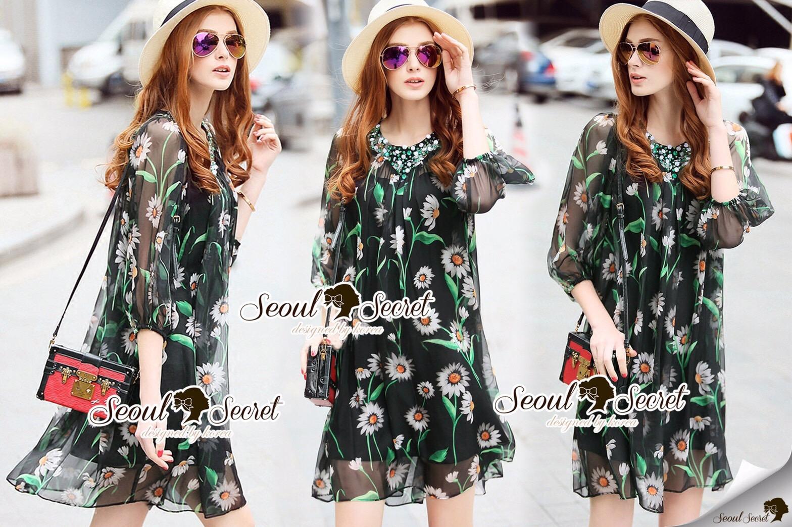 Closet Seoul Secret Say's... Emerald Gemmy Flora Black Dress