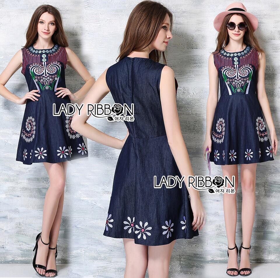 Lady Ribbon Closet LR08260516 &#x1F380 Lady Ribbon's Made &#x1F380 Lady Closet Lily Sweet Casual Flower Embroidered Denim Dress