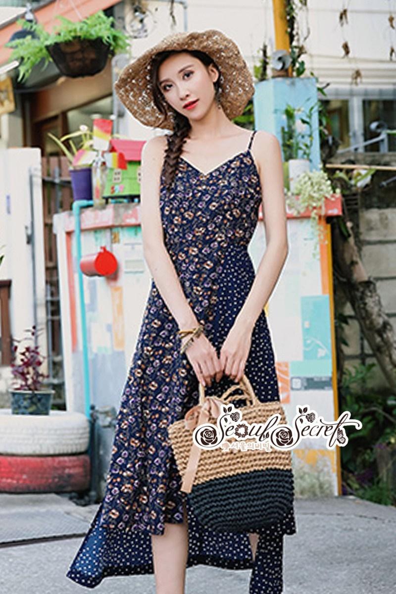 เสื้อผ้าแฟชั่นเกาหลี Lady Ribbon Thailand Seoul Secret Say'...Summer Maxi Dress Single Line Floral Prints