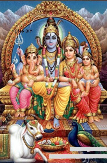 รูปภาพครอบครัวพระศิวะ (พระศิวะ พระแม่อุมาเทวี พระขันทกุมาร และพระพิฆเนศ)