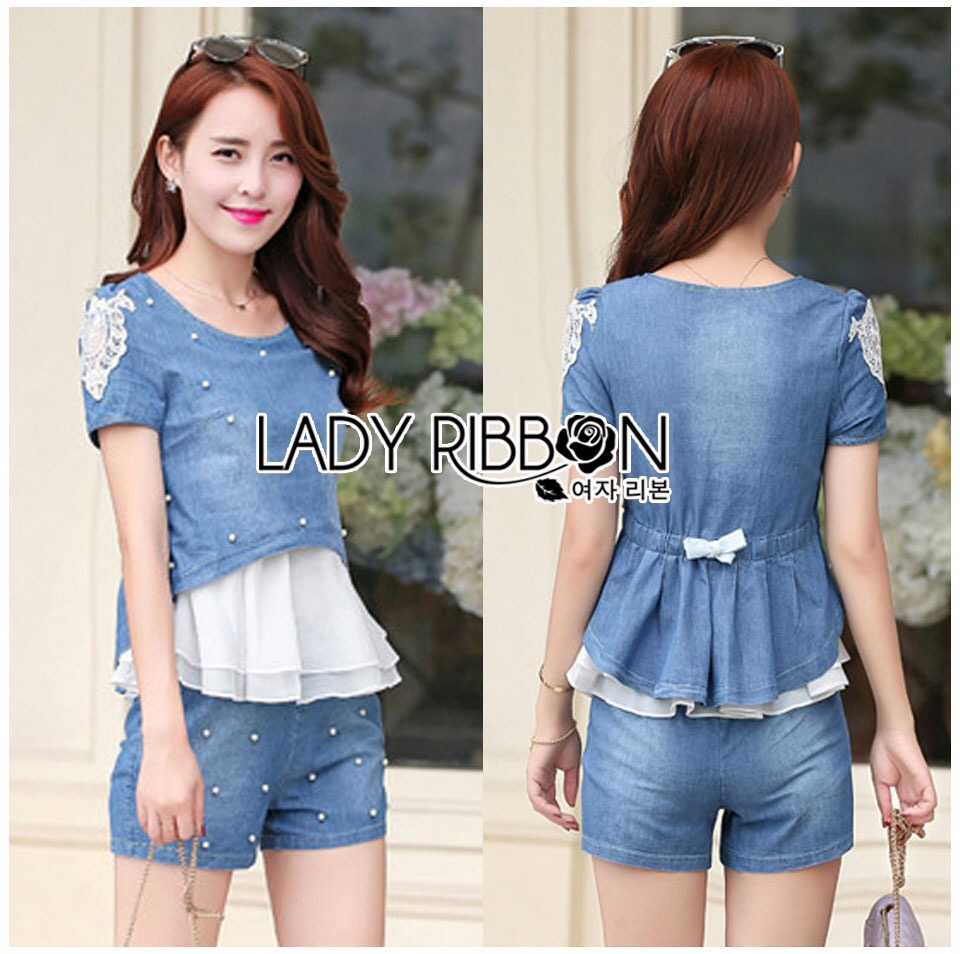 Lady Ribbon's Made &#x1F380 Lady Monica Casual Chic Pearl Embroidered Denim and Chiffon Set