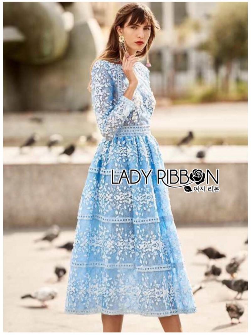 เสื้อผ้าแฟชั่นเกาหลี Lady Ribbon Thailand Lady Ribbon's Made Lady Eva Modern Feminine Lace Midi Dress