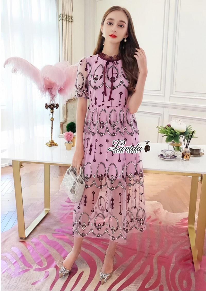 เสื้อผ้าแฟชั่นเกาหลี Lady Ribbon Thailand Korea Design By Lavida Arty vintage embroidery ribbon neck dress