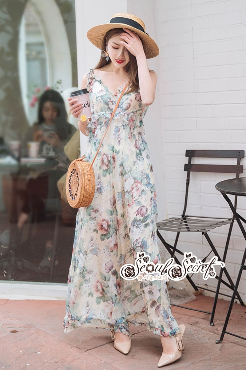 เสื้อผ้าแฟชั่นเกาหลี Lady Ribbon Thailand Seoul Secret Say'...Single Suit Chiffon Floral Print Pastel
