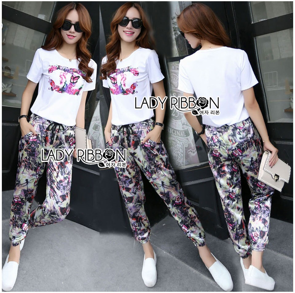 Lady Ribbon's Made &#x1F380 Chanel Vivid Floral Printed T-Shirt and Floral Printed Slouchy Pants Korea Set