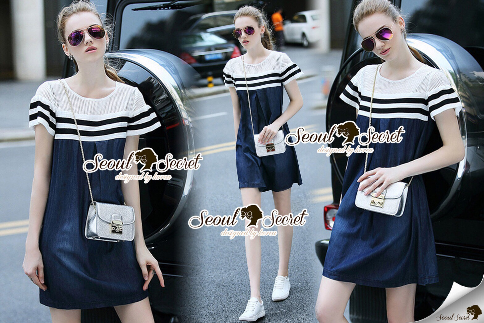 Lady Ribbon Korea Brand SS17300516 Seoul Secret Say's .... Ladiest Netty Stipy Line Denim Dress