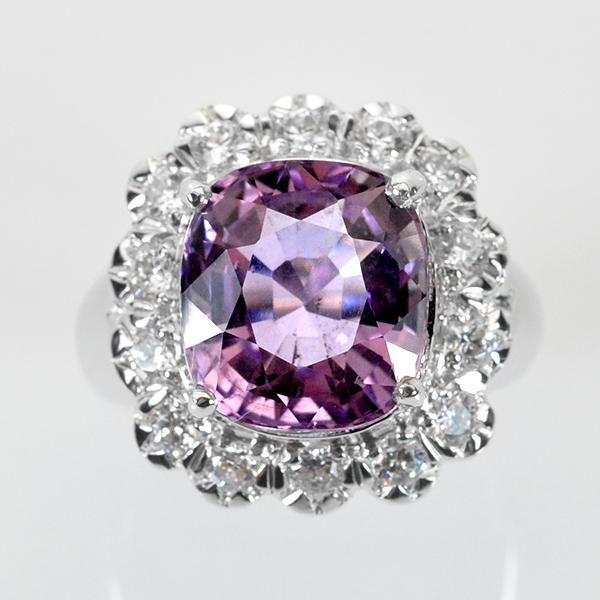 แหวนพลอยแท้ แหวนเงิน 925 ชุปทองคำขาว พลอยแท้อเมทิส (Amethyst) ล้อมด้วยเพชร CZ