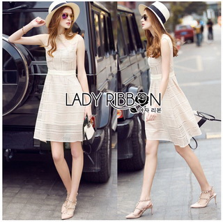 Lady Ribbon Korea Dressเสื้อผ้า LR16010816 &#x1F380 Lady Ribbon's Made &#x1F380 Lady Selena Classic Elegant Sleeveless White Mixed Lace Top เดรสผ้าลูกไม้แขนกุด