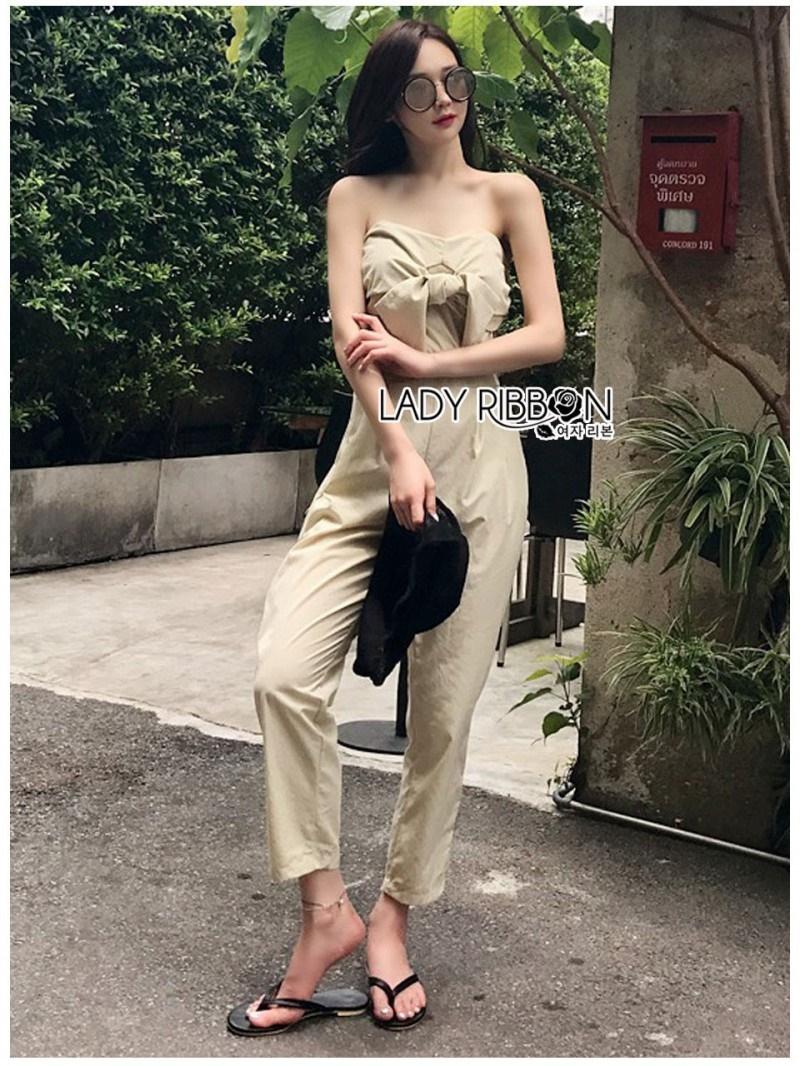 เสื้อผ้าแฟชั่นเกาหลี Lady Ribbon Thailand Lady Ribbon's Made Lady Lily Casual Chic Ribbon Jumpsuit