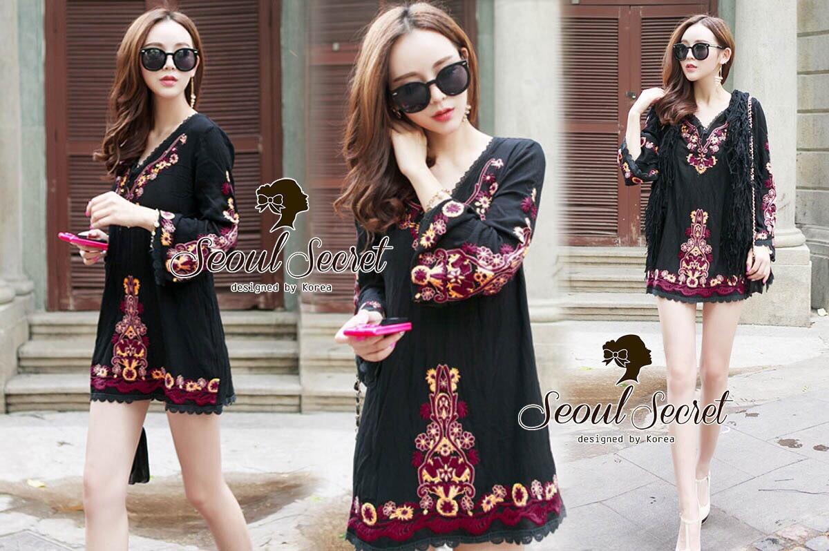 Closet Seoul Secret Say's... Bell Sleeve Bohe Style Red Cord Embroider Black Dress Ornamental Fringe