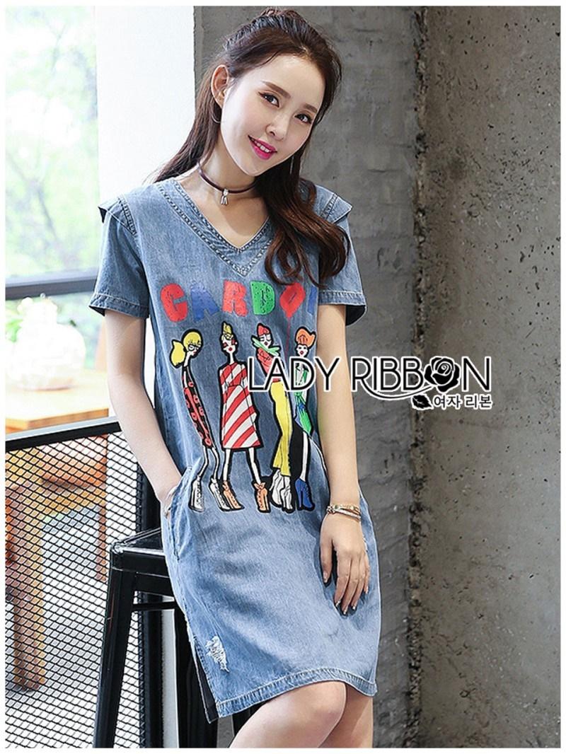 เสื้อผ้าแฟชั่นเกาหลี Lady Ribbon Thailand's Made Lady Glam Gloria Fun Printed Denim Dress