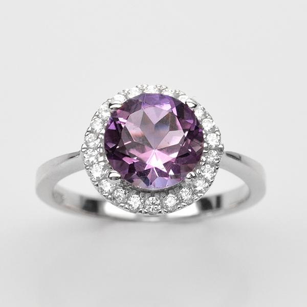 แหวนพลอยแท้ แหวนเงิน925 ชุบทองคำขาว พลอยอเมทิส ประดับเพชร CZ เกรดพรีเมี่ยม