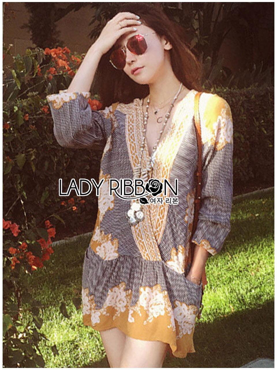 &#x1F380 Lady Ribbon's Made &#x1F380 Lady Chiara Casual Boho Chic Printed Viscose Dress เ