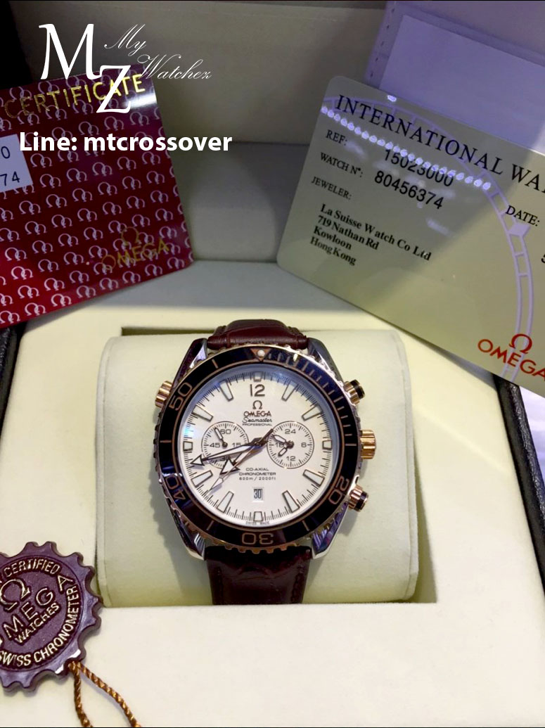 OMEGA Seamaster Planet Ocean 600M Chronograph,White Dial and Leather Strap