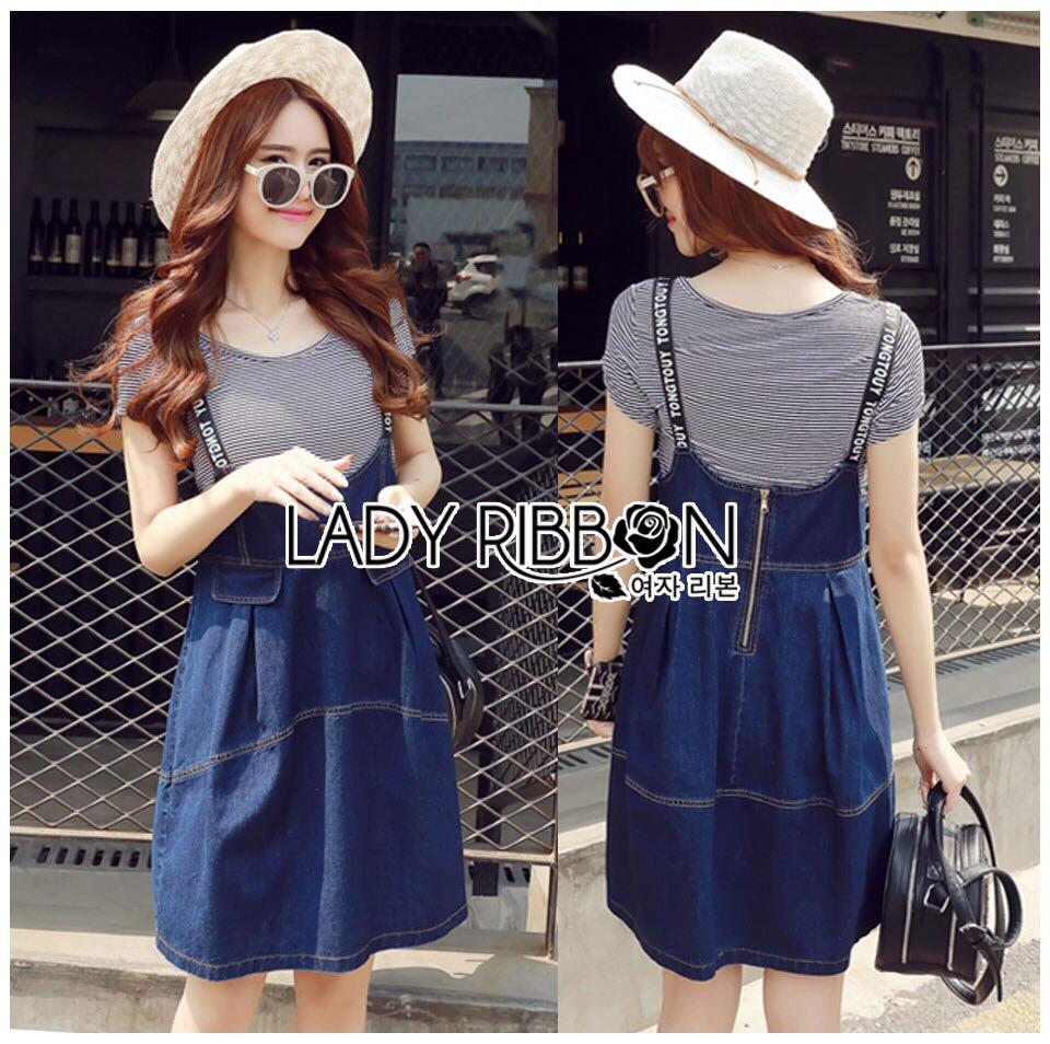 Lady Ribbon Korea Denim Dress LR21130616 &#x1F380 Lady Ribbon's Made &#x1F380 Lady Alexa Street Chic Striped T-Shirt with Denim Overall Dress