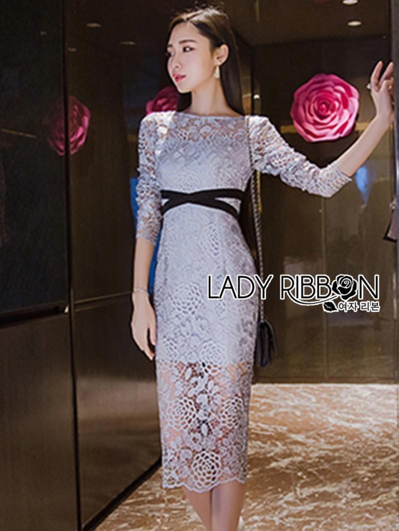 เสื้อผ้าแฟชั่นเกาหลี Lady Ribbon Thailand Lady Ribbon's Made Lady Vanessa Soft Elegant Pastel Blue Lace Midi Dress